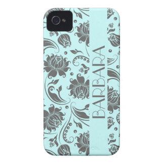 Gray And Light Blue Floral Damasks Monogram 3 Case-Mate iPhone 4 Cases