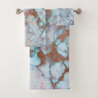 Gray And Light Blue Marble Stone Bath Towel Set