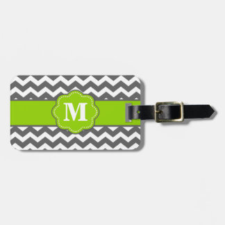 Gray and Lime Chevron Monoagram Luggage Tag