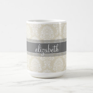 Gray and Linen Vintage Damask Pattern with Name Mugs