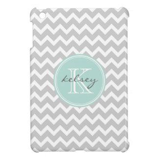 Gray and Mint Chevron Custom Monogram iPad Mini Covers