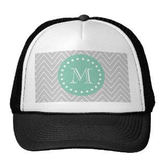 Gray and Mint Green Modern Chevron Monogram Hats