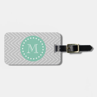 Gray and Mint Green Modern Chevron Monogram Luggage Tag