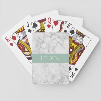 Gray and Mint Marble Pattern Custom Name Playing Cards