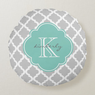 Gray and Mint Moroccan Quatrefoil Print Round Cushion