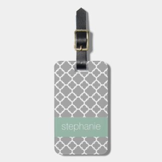 Gray and Mint Quatrefoil Pattern Custom Name Luggage Tag