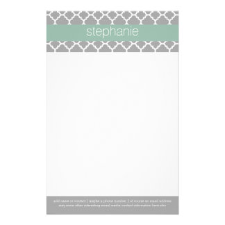 Gray and Mint Quatrefoil Pattern Custom Name Stationery