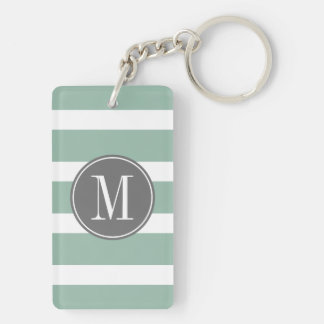 Gray and Mint Striped Pattern with Monogram Key Ring