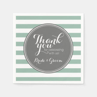Gray and Mint Striped Pattern with Monogram Paper Napkin