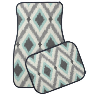 Gray and Mint Tribal Ikat Chevron Car Mat