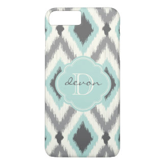 Gray and Mint Tribal Ikat Chevron Monogram iPhone 8 Plus/7 Plus Case