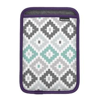 Gray and Mint Tribal Print Ikat Diamond Pattern iPad Mini Sleeve