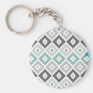 Gray and Mint Tribal Print Ikat Diamond Pattern Keychains