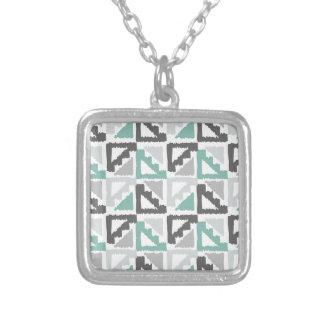 Gray and Mint Tribal Print Ikat Triangle Pattern Pendants