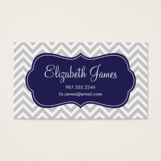 Gray and Navy Blue Modern Chevron Stripes Business Card