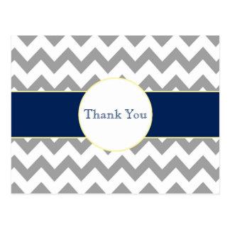 Gray and Navy Chevron Striped Thank You Postcard