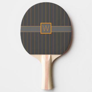 Gray and Orange Pinstripes Ping Pong Paddle