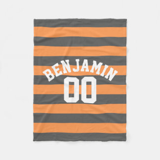 Gray and Orange Rugby Stripes Jersey Name Number Fleece Blanket