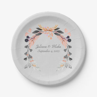 Gray and Peach Floral Wreath Paper Plate