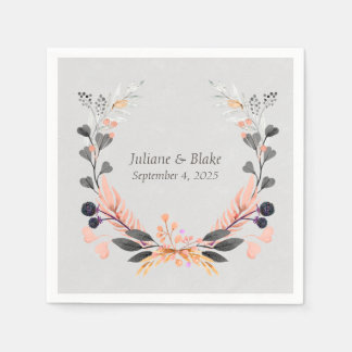 Gray and Peach Wreath with Flowers Disposable Napkins