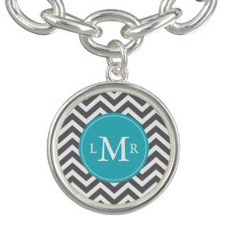Gray and Peacock Teal Zigzags Monogram
