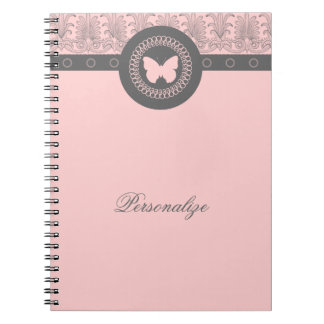 Gray and Pink Butterfly Notebook