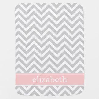 Gray and Pink Chevron Monogram Baby Blanket