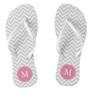 Gray and Pink Chevrons Monogrammed Thongs