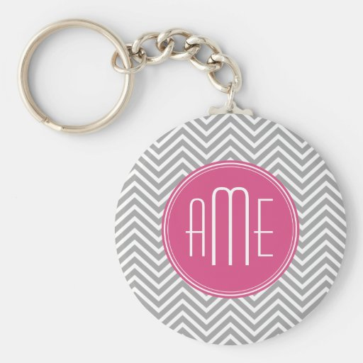 Gray and Pink Chevrons with Custom Monogram Key Chain