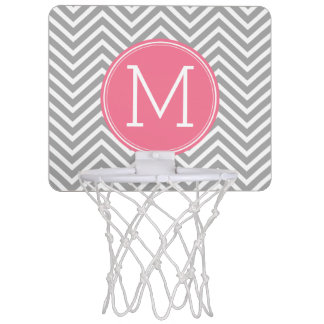 Gray and Pink Chevrons with Custom Monogram Mini Basketball Hoop