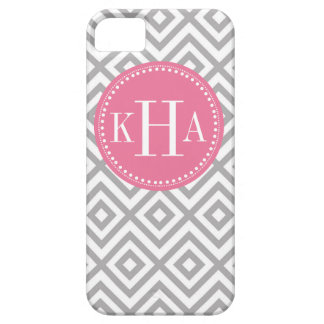 Gray and Pink  Customized Full Monogram Pattern Barely There iPhone 5 Case