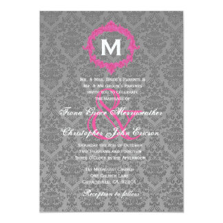 Gray and Pink Damask Monogram Wedding V027B 13 Cm X 18 Cm Invitation Card