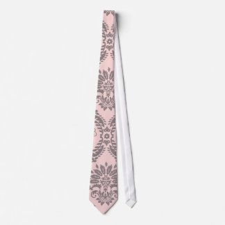 gray and pink damask pattern tie