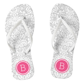 Gray and Pink Floral Damask Monogram Thongs