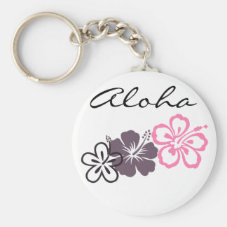 gray and pink hibiscus Hawaiian  theme Key Ring