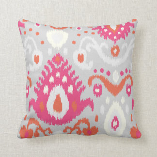 Gray and Pink Ikat Print Cushion