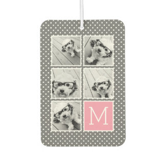 Gray and Pink Instagram 5 Photo Collage Monogram Car Air Freshener