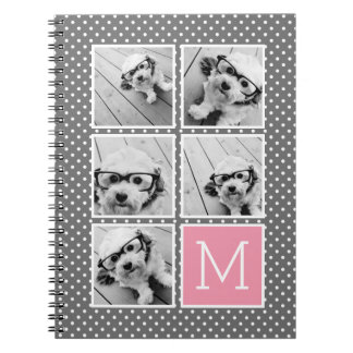 Gray and Pink Instagram 5 Photo Collage Monogram Spiral Notebooks