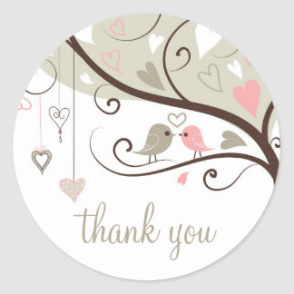 Gray and Pink Love Birds Wedding Thank You Sticker