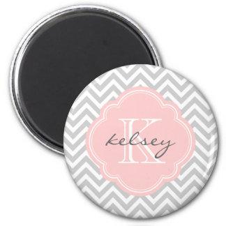 Gray and Pink Modern Chevron Custom Monogram 6 Cm Round Magnet