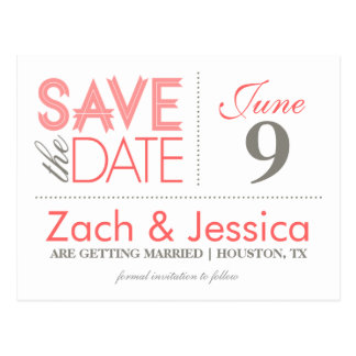 Gray and Pink Modern Typography Save the Date Postcard
