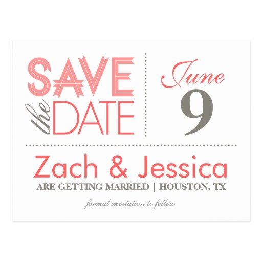 Gray and Pink Modern Typography Save the Date Postcards
