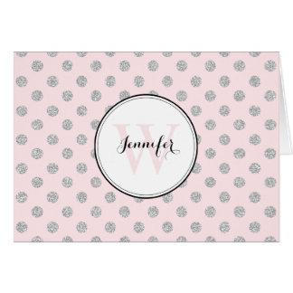 Gray and Pink Polka Dots Pattern Monogram Card