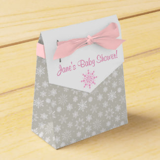 Gray and Pink Snowflake Favor Boxes Wedding Favour Boxes