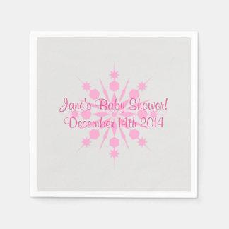 Gray and Pink Snowflake Napkins Paper Napkin
