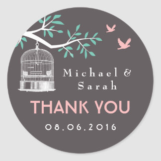 Gray and Pink Vintage Bird Cage Wedding Sticker