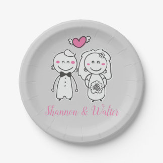 Gray And Pink Wedding Bride & Groom Personalized Paper Plate