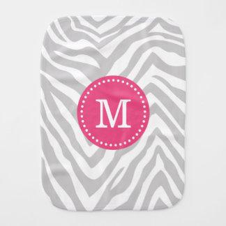 Gray and Pink Zebra Stripes Custom Monogram Baby Burp Cloth