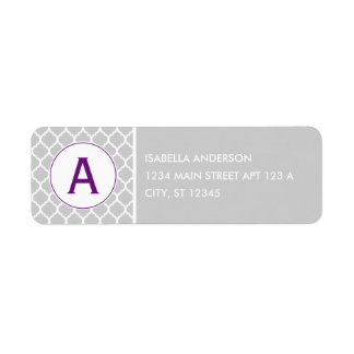 Gray and Purple Quatrefoil Monogram Return Address Label