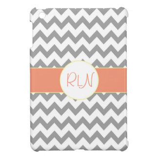 Gray and Salmon Chevron Striped Monogram iPad Mini Covers